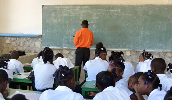 Haitian classroom with teacher